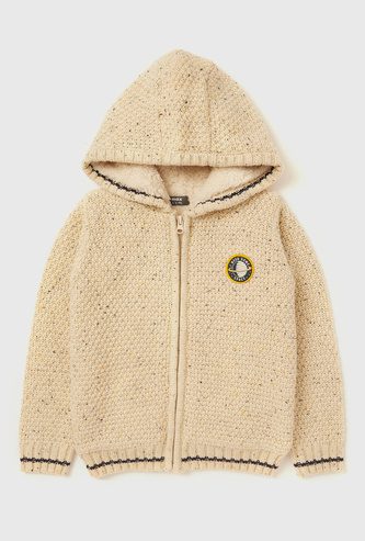 Textured Hooded Sweater with Long Sleeves