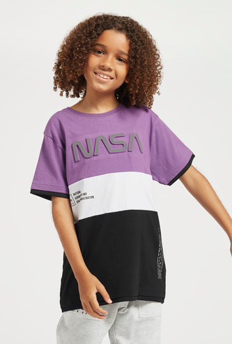NASA Embossed T-shirt with Round Neck and Short Sleeves