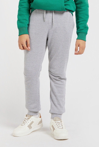 Solid Mid-Rise Full-Length Joggers with Drawstring Closure