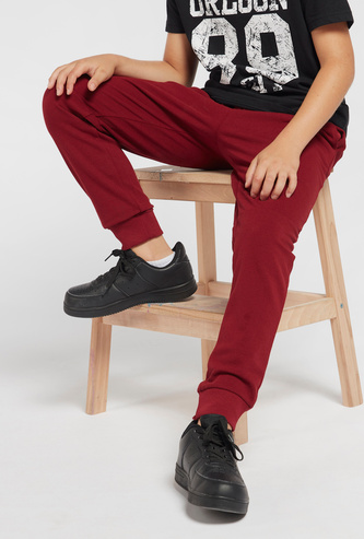 Solid Jog Pants with Drawstring Closure and Pocket Detail