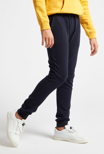 Full Length Textured Jog Pants with Pockets
