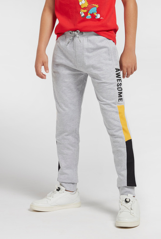 Typographic Print Full Length Joggers with Drawstring Closure