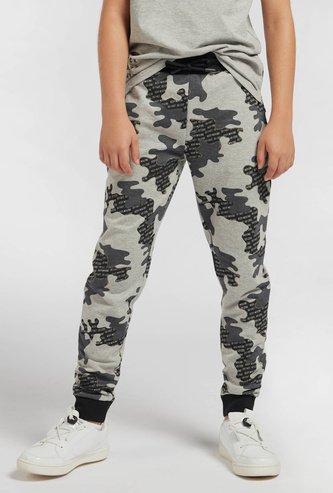 All-Over Camouflage Print Jog Pants with Drawstring Closure