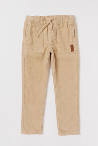 Full Length Corduroy Pants with Drawstring Closure