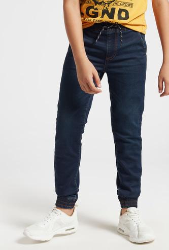 Solid Mid-Rise Jog Pants with Drawstring Closure