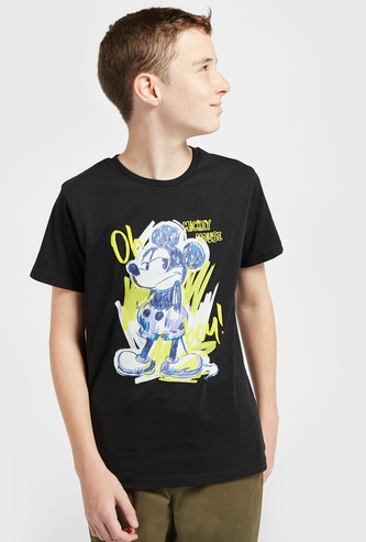 Mickey Mouse Print T-shirt with Round Neck and Short Sleeves