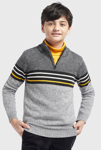 Striped Long Sleeves Sweater with High Neck and Half Zip Closure