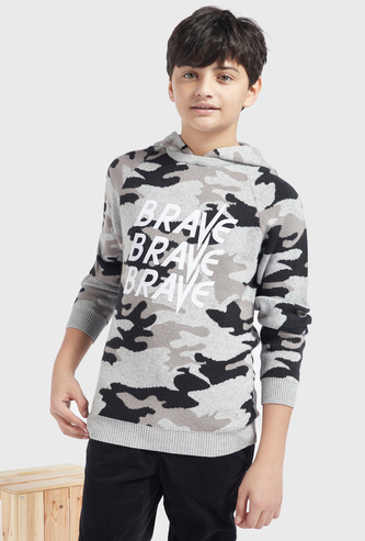 Camouflage Print Hooded Sweater with Long Sleeves