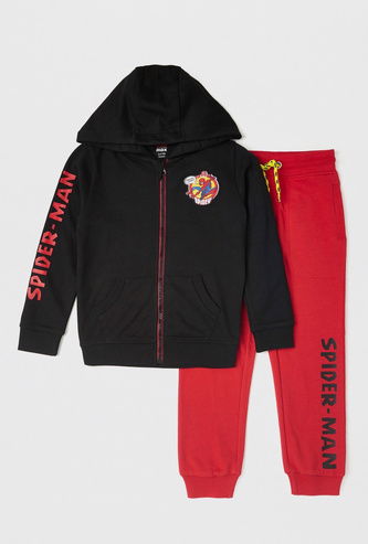 Spider-Man Print Hoodie and Full-Length Jogger Set