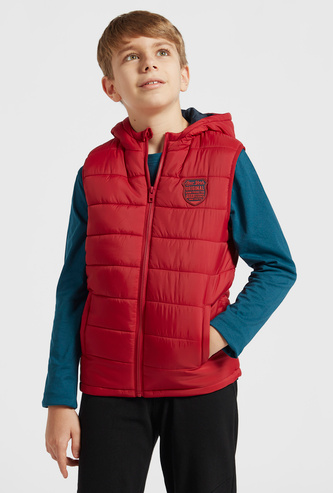Sleeveless Puff Gilet Jacket with Hood and Zip Closure