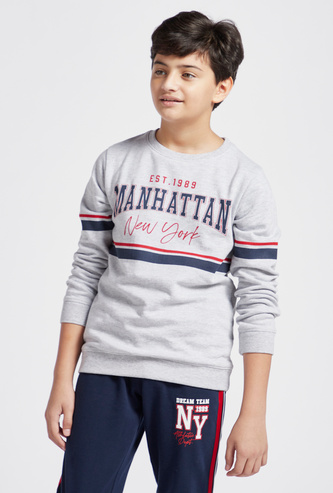 Manhattan Print Sweatshirt with Round Neck and Long Sleeves