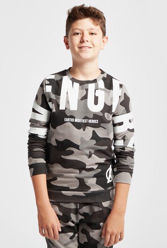 All-Over Avengers Print Sweatshirt with Long Sleeves