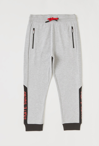 Cut and Sew Joggers with Drawstring Closure and Side Print