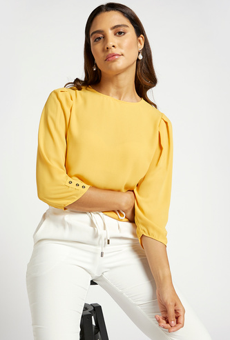 Solid Top with Crew Neck and 3/4 Sleeves