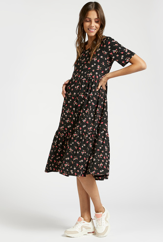 All-Over Floral Print Midi A-line Maternity Dress with Short Sleeves