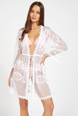 Lace Detail Kaftan with Long Sleeves and Tie-Ups