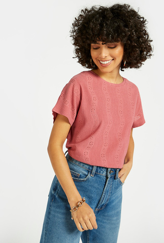Schiffli Detail Top with Round Neck and Cap Sleeves