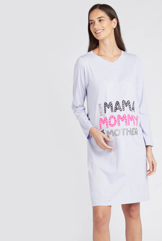 Printed Maternity V-Neck Sleepshirt with Long Sleeves