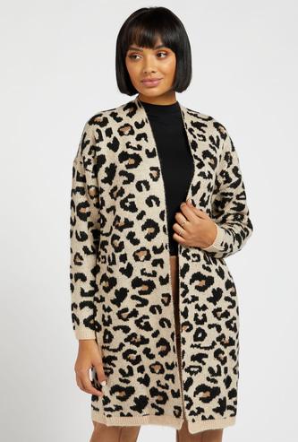 Animal Print Thigh Length Cardigan with Long Sleeves