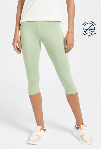 Solid Mid-Rise 3/4 Leggings with Elasticated Waistband