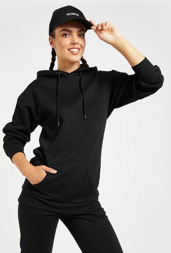 Solid Sweatshirt with Hood and Kangaroo Pocket