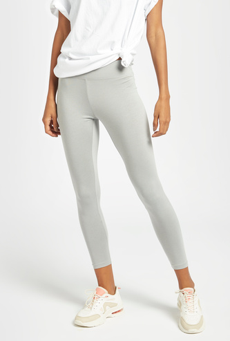 Solid Mid-Rise Leggings with Elasticated Waistband