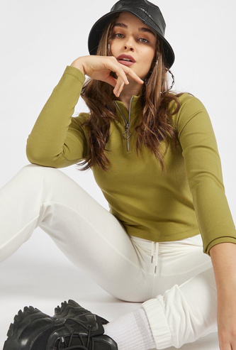 Solid Zipper High Neck T-shirt with Long Sleeves