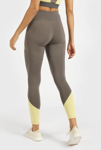 Colourblocked Slim Fit Leggings with Elasticised Waistband