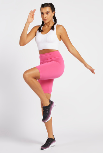 Solid Slim-Fit Cycling Shorts with Elasticated Waistband