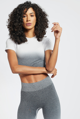 Ombre Shade Crew Neck Crop T-shirt with Short Sleeves