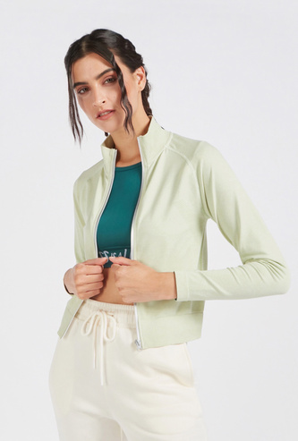 Solid High Neck Seamless Jacket with Long Sleeves and Zip Closure