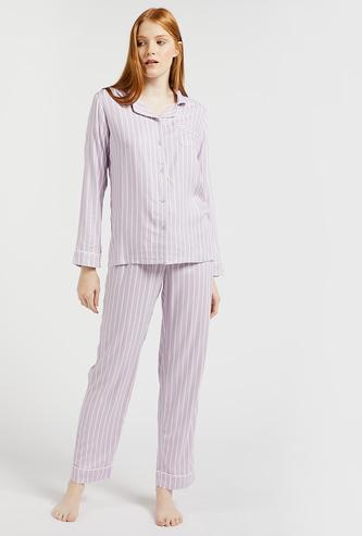 Striped Shirt and Pyjamas Set
