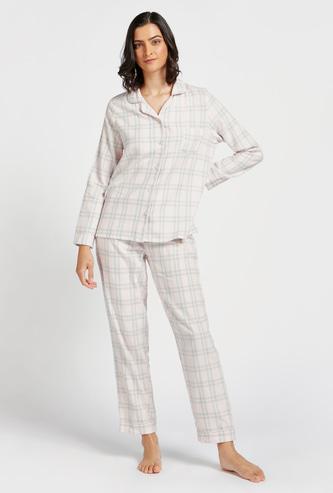 Checked Long Sleeves Sleepshirt and Pyjama Set