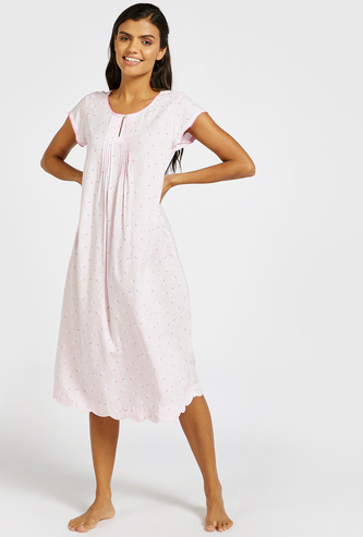 All-Over Floral Print Sleep Gown with Round Neck and Short Sleeves