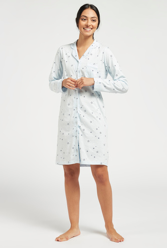 All-Over Printed Sleepshirt with Long Sleeves and Pocket Detail