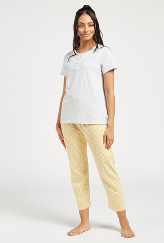 Solid Henley Neck T-shirt and Printed Pyjama Set