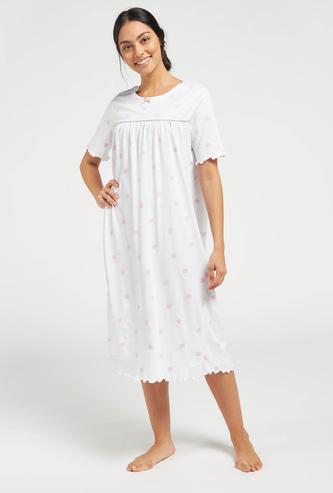 Polka Dot Print Sleepshirt with Round Neck and Short Sleeves