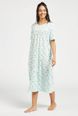 Printed Sleep Gown with Round Neck and Short Sleeves