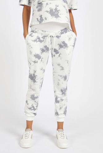 Tie-Dye Print Maternity Jog Pants with Elasticated Waistband