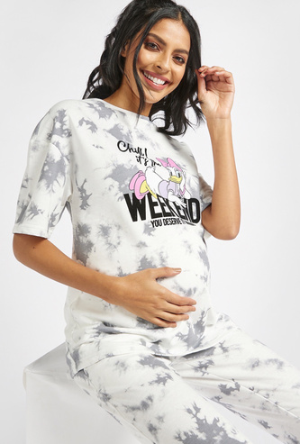 Daisy Duck Print Tie-Dye Maternity T-shirt with Short Sleeves