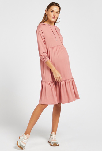 Solid Maternity Tiered Dress with Long Sleeves and Hood