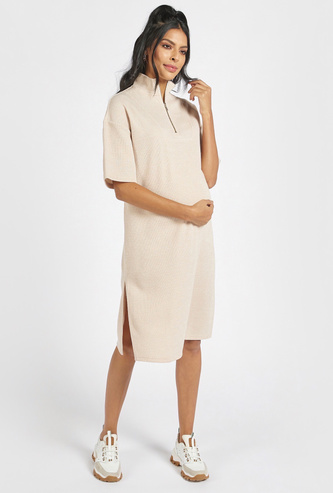 Ribbed Maternity Shift Dress with Side Slits