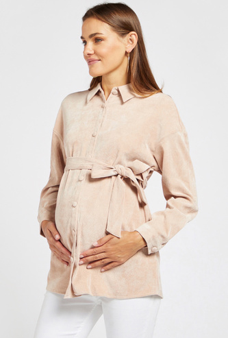 Textured Maternity Shacket with Long Sleeves and Tie-Ups