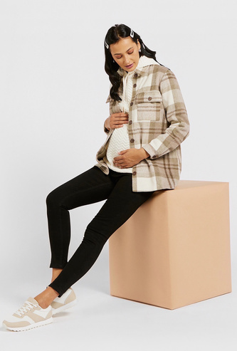 Checked Maternity Shacket with Long Sleeves and Pockets