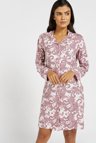 Paisley Print Knee-Length Sleepshirt with Long Sleeves and Pocket