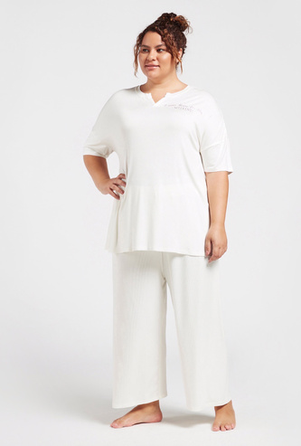 Text Embroidered T-shirt and Solid Pyjama Set