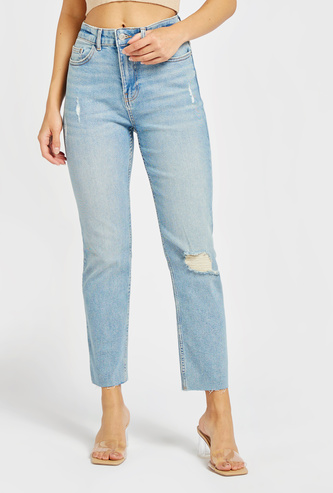 Distressed Straight Fit Ankle-Length Jeans with Pockets