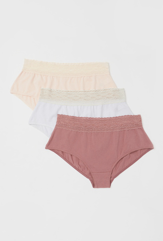 Pack of 3 - Lace Detail Full Brief with Elasticated Waistband