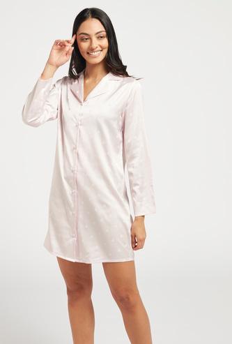 Polka Dot Print Sleepshirt with Lapel Collar and Long Sleeves