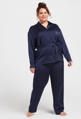 Solid Sleepshirt with Spread Collar and Full Length Pyjama Set